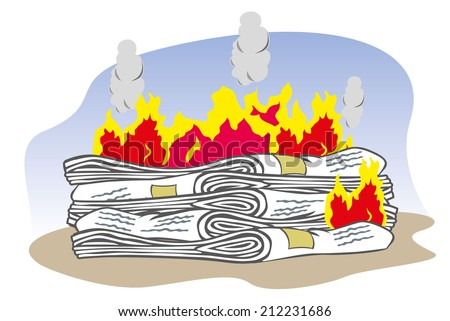 Lot of newspaper on fire  - stock vector