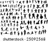 Lot of Silhouette figures - stock vector