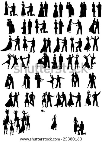 lot of Wedding Couples Wedding Party Silhouette