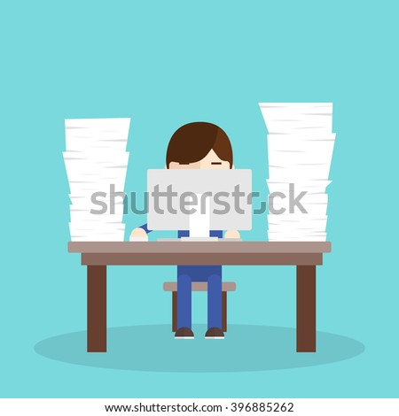 Lot of work. worker sitting at a desk with a computer and a bunch of documents. - stock vector