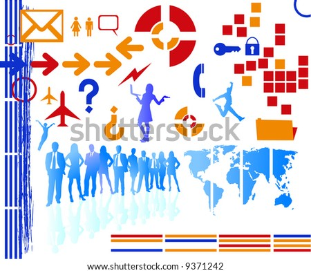 lots of business icons and silhouettes for your designs. traced map http://www.lib.utexas.edu/maps/world_maps/world_pol02.jpg copyright state: http://www.lib.utexas.edu/maps/faq.html#3.html - stock vector