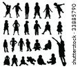 Lots of children and babies silhouettes vector - stock vector