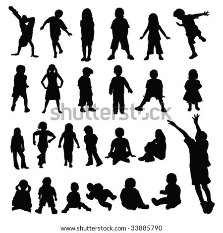 Lots of children and babies silhouettes vector