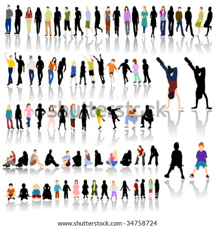 Lots of Colorful People with Silhouettes and Shadow Reflections - stock vector