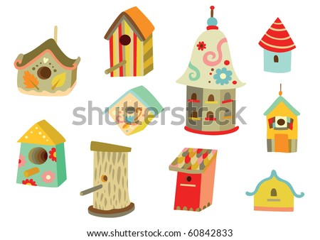 Lots of cute houses for birds with different shapes and decorations. - stock vector
