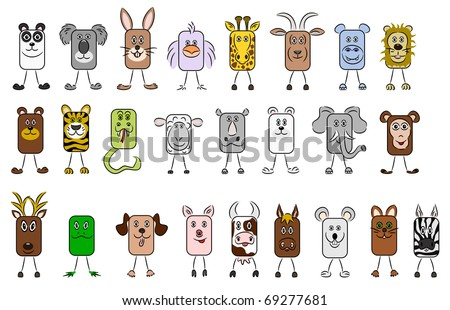 lots of cute illustrated vector animals - stock vector