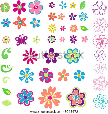 Lots of Flowers- Vector Illustration - stock vector