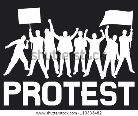 lots of furious people protesting (a group of people protesting, protest, demonstrator, protest man, demonstrations, protest, demonstrator, hooligan, fan, protest design, protest poster) - stock vector