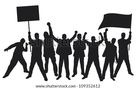 lots of furious people protesting (a group of people protesting, protest, man holding flag, man holding transparent, demonstrator, protest man, demonstrations, protest, demonstrator, hooligan, fan) - stock vector