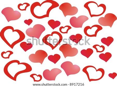 Lots of hearts - stock vector