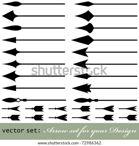 Lots of medieval arrow design collection. Useful for your vintage design isolated on white. VECTOR
