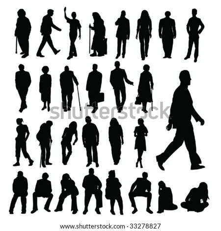 Lots of People Silhouettes - stock vector