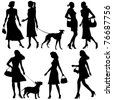 Lots of people, women - vector set - stock vector
