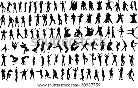 Lots of silhouettes of dancing people. Vector - stock vector