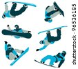 lots of snowboard action with cool air pose and blue winter color - stock photo