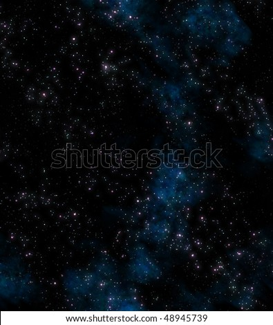 lots of stars in outer space with blue nebula clouds - stock vector