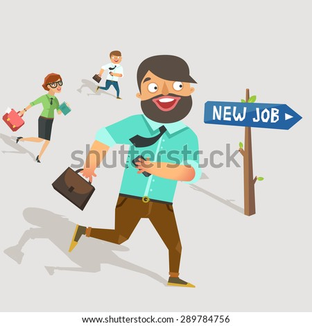 """Lots of workers jumping to the new job. Road sign with """"New Job"""" direction. Businessman in suit holding brief case and smart phone, moving and smiling happily. Vector colorful flat  illustration. - stock vector"""