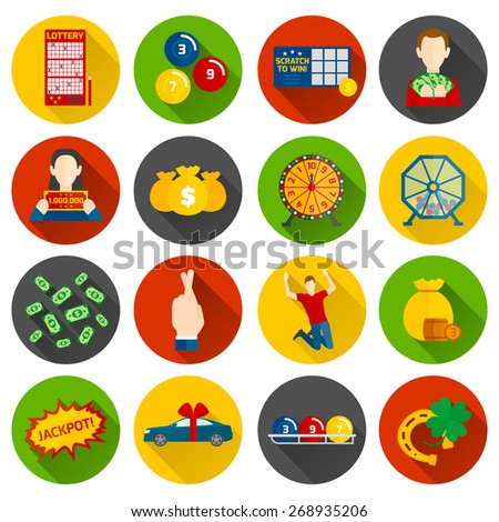 Scratch ticket stock images royalty free images vectors lottery icon flat set with money and gambling symbols isolated vector illustration sciox Images