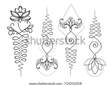 Lotus Sacred Geometry Unamole Hindu Symbol Stockvector Rechtenvrij