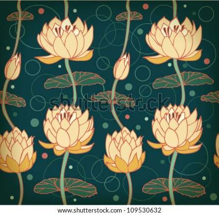 Lotus background. Floral pattern with water lilies. Seamless nenuphar cute backdrop can be used for greeting cards, postcard, arts, wallpapers, web pages, surface texture, clothes, prints, tapestry - stock vector