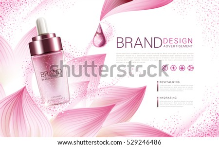 lotus essence concentrate product contained in a pink droplet bottle, with flower element and pink background, 3d illustration