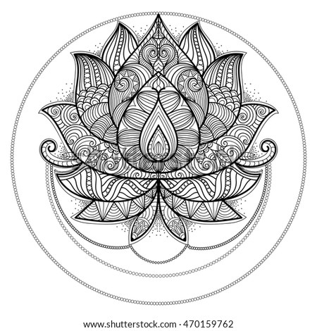 Lotus Flower For Coloring Book Tattoo T Shirt Card Invitation Ethnic
