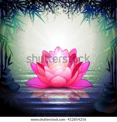 Lotus Flower in Tranquil Zen Garden-Transparency Blending Effects and Gradient Mesh-EPS 10. - stock vector