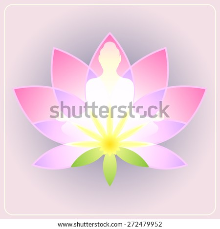 Lotus flower with the silhouette meditating figure - stock vector