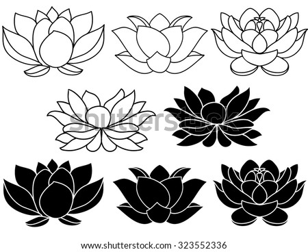 Lotus flowers black and white silhouettes. Set of three vector hand drawn illustrations. - stock vector