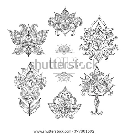 ornamental flowers vector set abstract floral stock vector 97491749 shutterstock. Black Bedroom Furniture Sets. Home Design Ideas