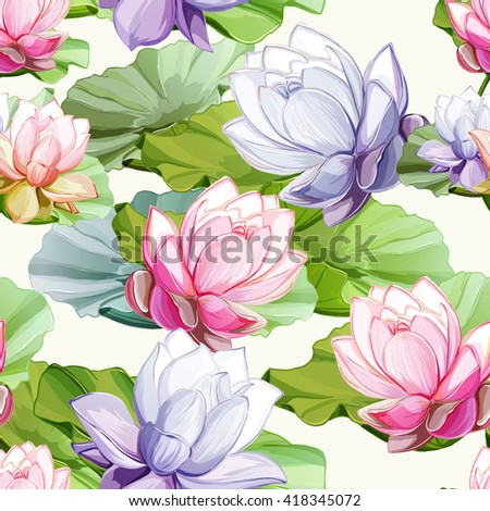 Lotus flowers with leaves. Seamless background pattern.  Hand drawn elements.  Vector - stock vector