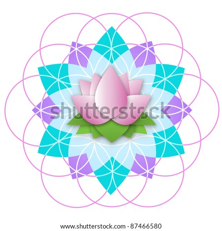 Lotus inside Flower of Life - stock vector