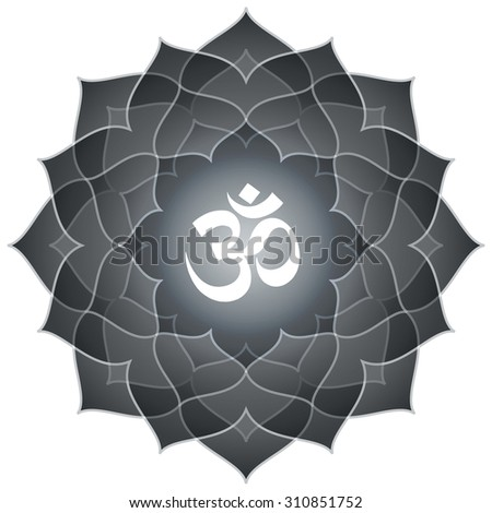 Lotus Om Design (Text : Spiritual Hindu Om Symbol) - stock vector