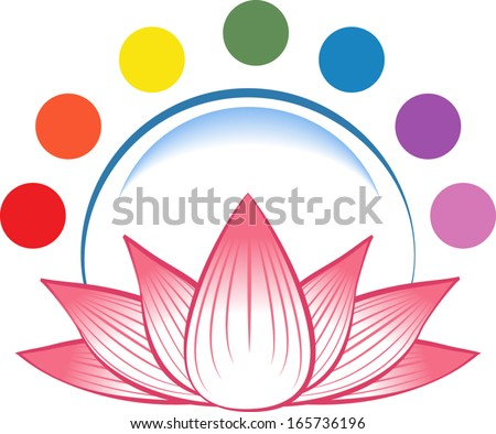 Lotus with crystal ball and chakra symbols. EPS 10 with linear gradients and color blend. - stock vector