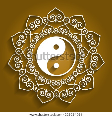 Lotus Yin Yang Design - stock vector