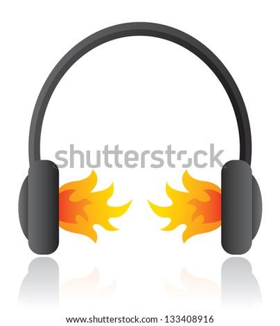 Loud rocking music / Headphones on fire - stock vector
