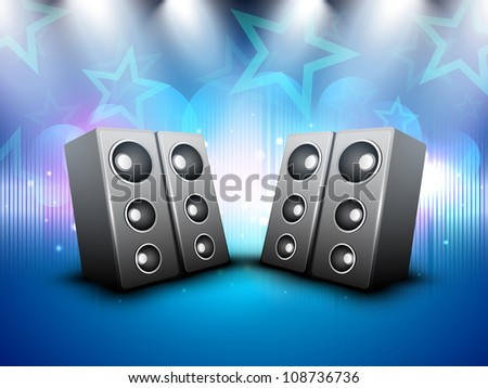 Loud speakers on beautiful shiny creative abstract background. EPS 10. - stock vector