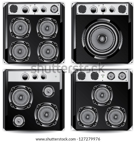 Loudspeaker acoustic system. Isolated on white background - stock vector