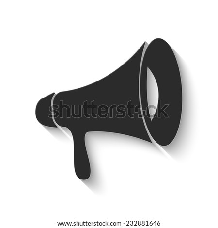 loudspeaker icon - gray vector illustration with shadow - stock vector