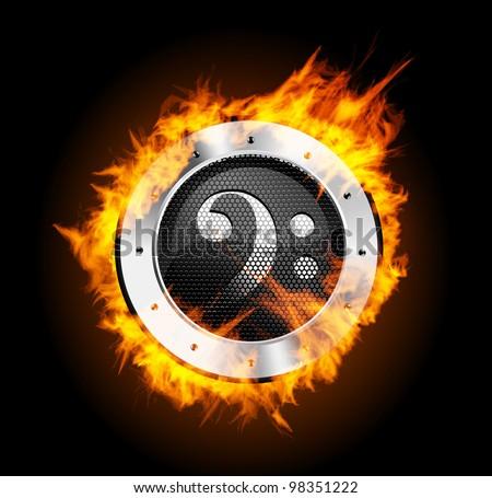 Loudspeaker on Fire Isolated - stock vector