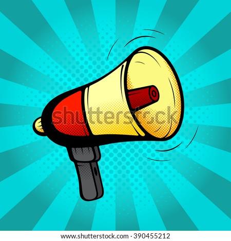 Loudspeaker or megaphone in retro pop art style. Vector illustration. Icon of loud-hailer in pop art style on a blue background. - stock vector