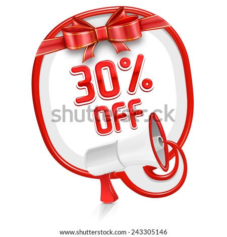 Loudspeaker speech balloon: 30% off - stock vector