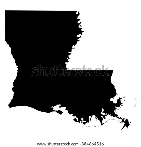 Louisiana black map on white background vector - stock vector