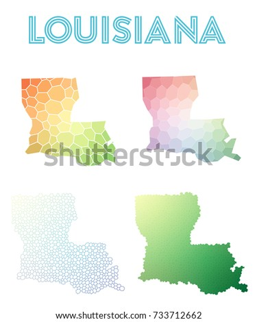 louisiana polygonal us state map mosaic style maps collection bright abstract tessellation geometric