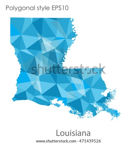 Louisiana state map in geometric polygonal style.Abstract gems triangle,modern design background. Vector illustration EPS10