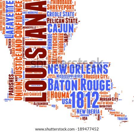 Louisiana USA state map tag cloud vector illustration - stock vector