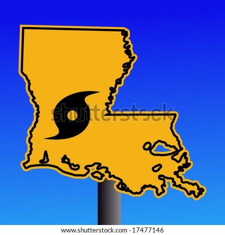 Louisiana warning sign with hurricane symbol on blue illustration - stock vector