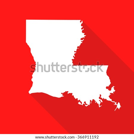 Louisiana white map,border flat simple style with long shadow on red background - stock vector