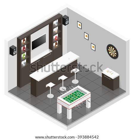 Lounge for men room isometric icon set vector graphic illustration - stock vector