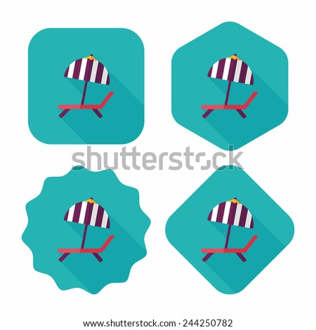 Lounger Beach Sunbed Chair flat icon with long shadow - stock vector